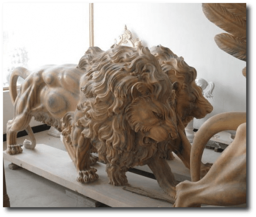 Pair of Roaring Marble Lions From Europe To You