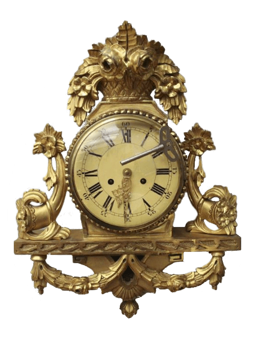 Swedish Clock- BIG Antique Louis XV Gilt Wood Cartel Wall Clock From Ebay Seller c911tt- From Stockholm , Sweden