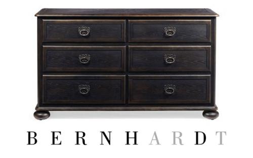 Bernhardt Belgian Oak Dresser with Drop Down Top Drawer Fronts in Charcoal