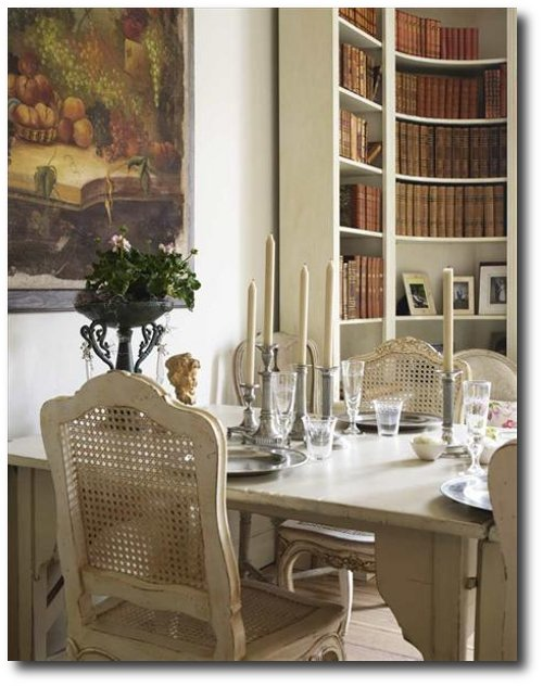 A Home Located In Sweden with painted antique French Chairs