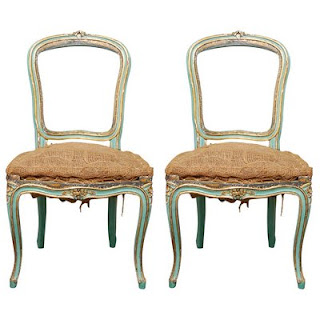 Pair of Turquoise Louis XV Chairs Timothy Corrigan Antiques